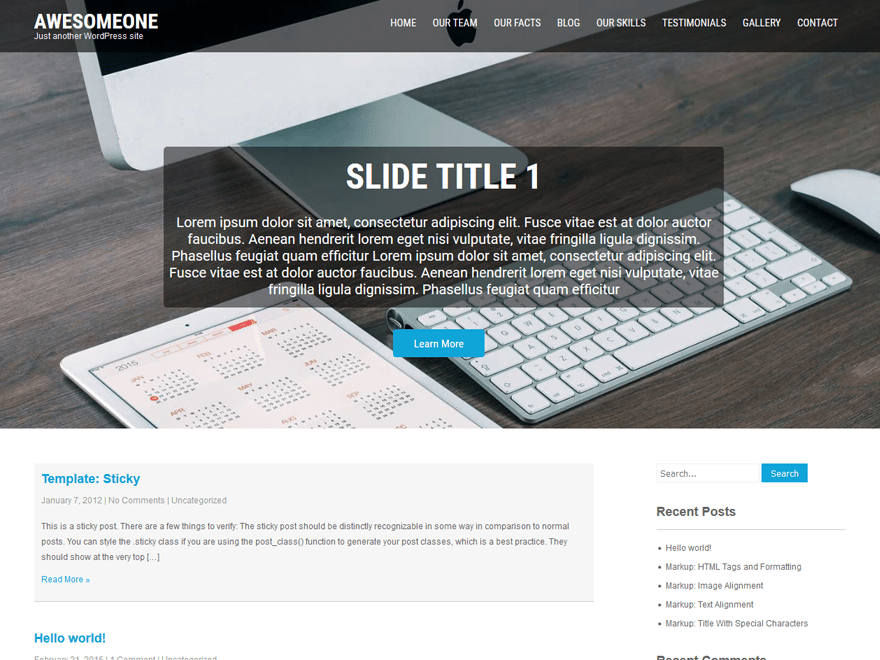screenshot of AwesomeOne free WooCommerce theme