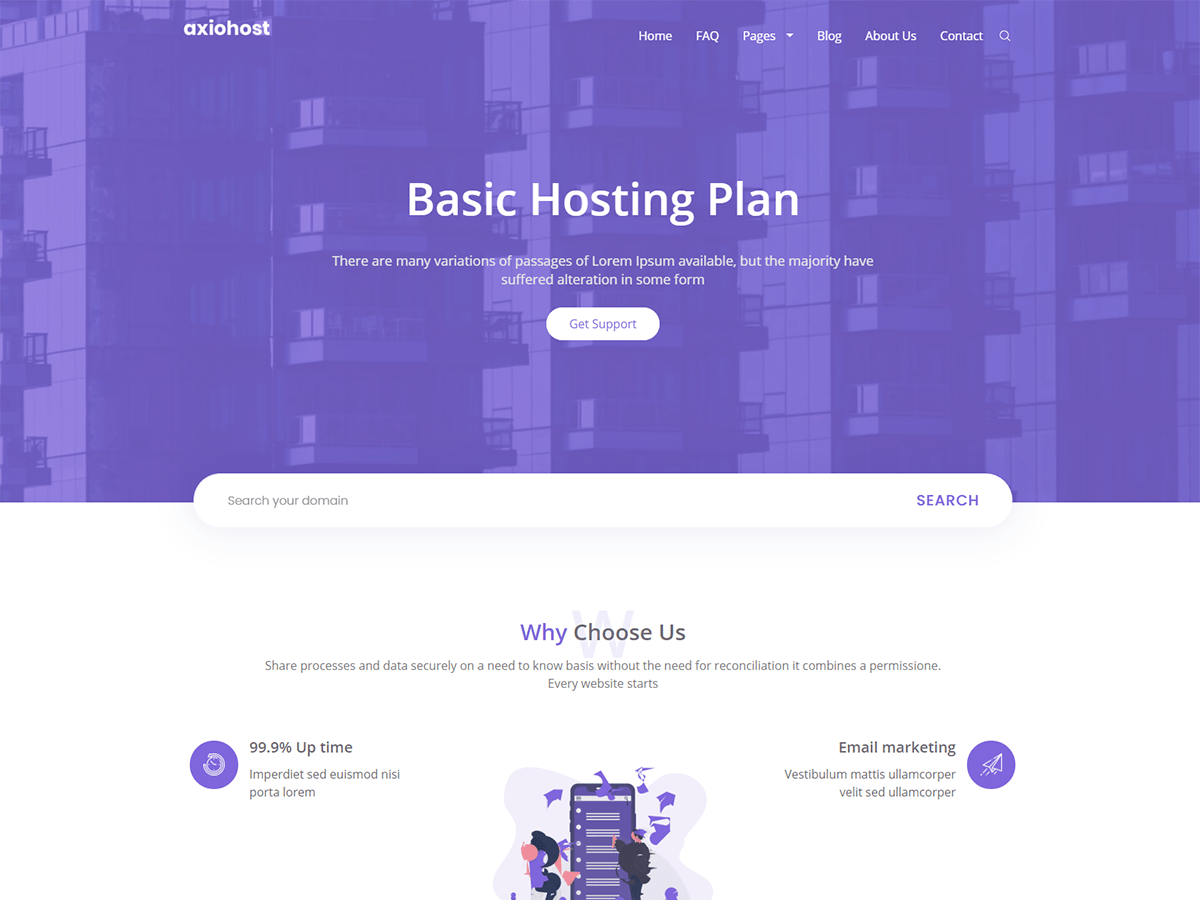 Axiohost Responsive Hosting Bootstarp WordPress Theme