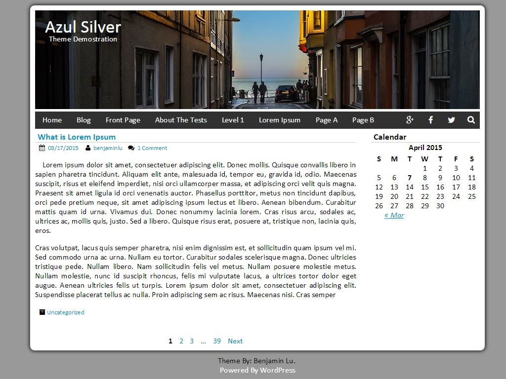 Azul Silver free wordpress theme