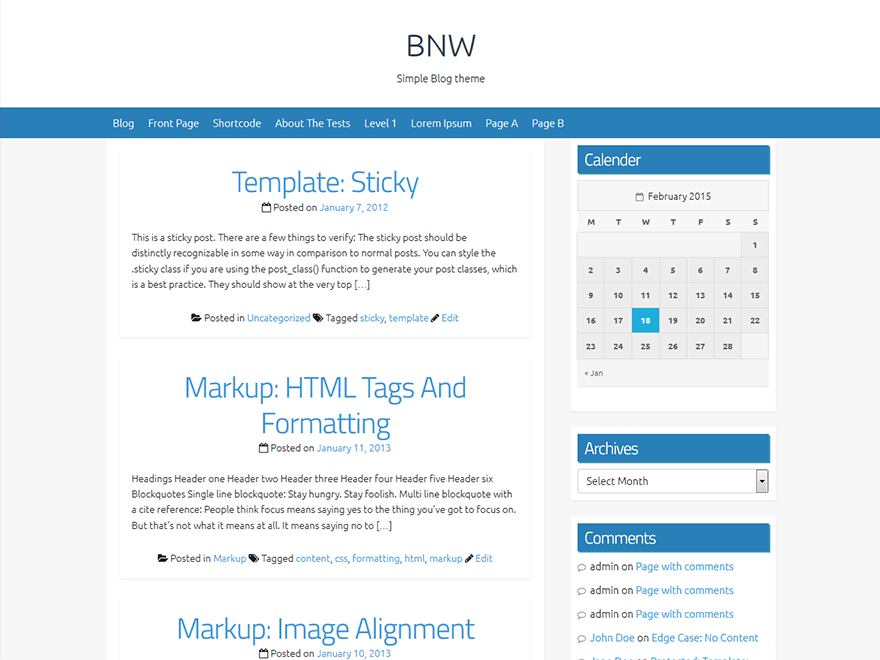 B & W free wordpress theme