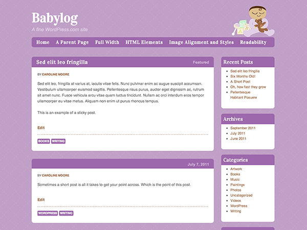 Babylog free wordpress theme