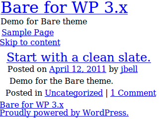 Bare free wordpress theme