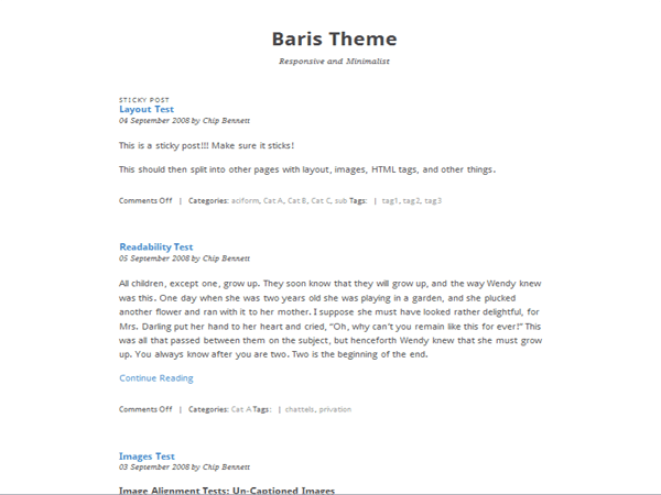 Baris free wordpress theme