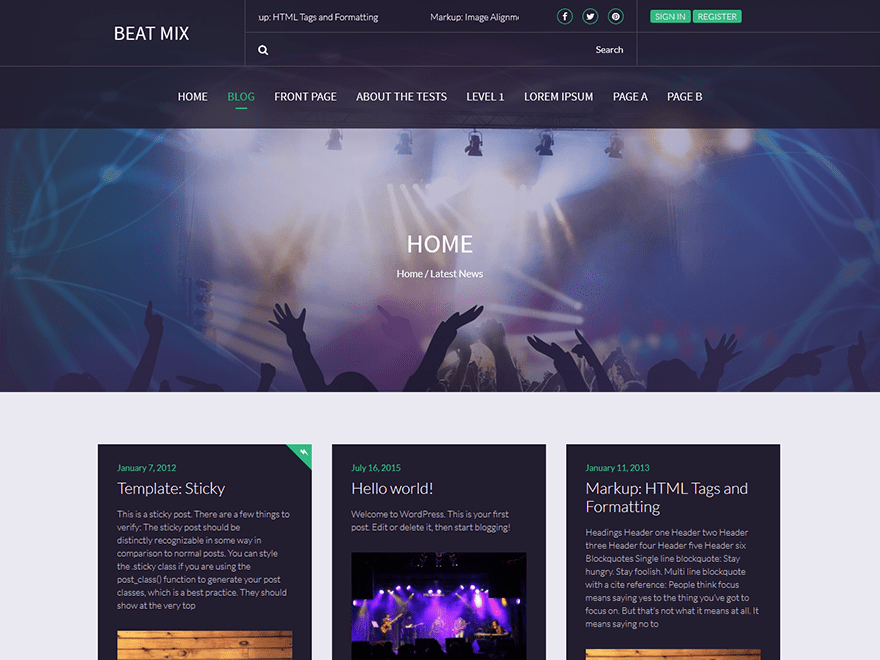 Beat Mix Lite free wordpress theme