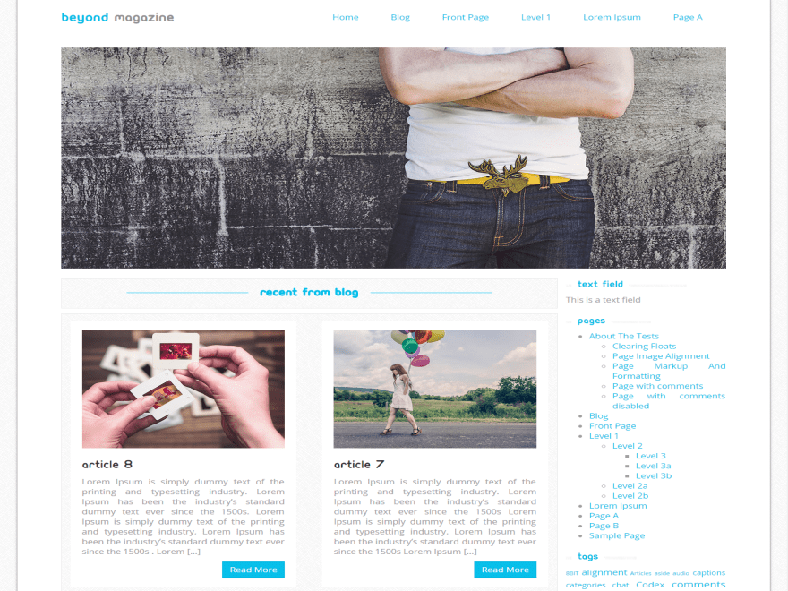 Beyond Magazine free wordpress theme