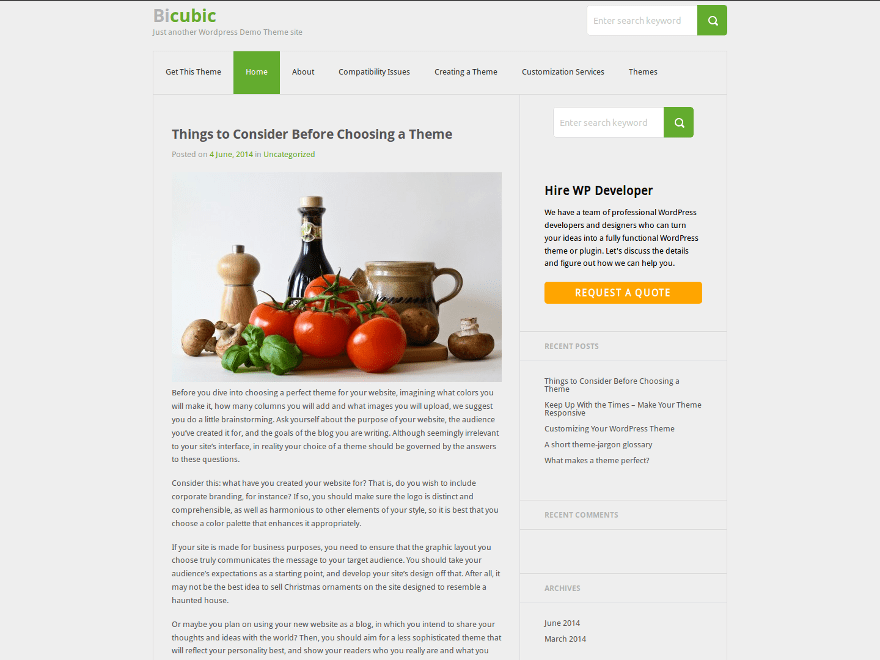 Bicubic free wordpress theme