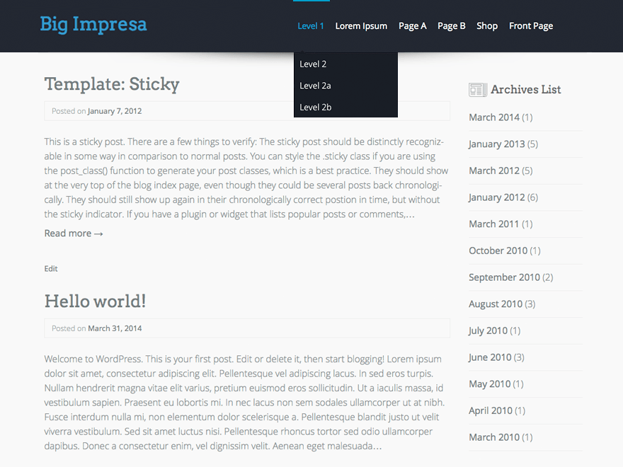 Big Impresa free wordpress theme