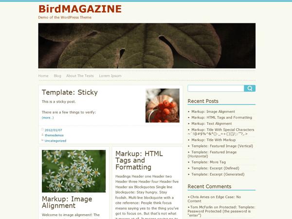 BirdMAGAZINE free wordpress theme