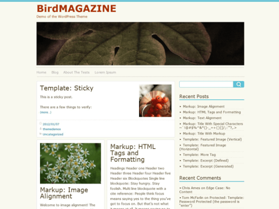 BirdMAGAZINE wordpress theme