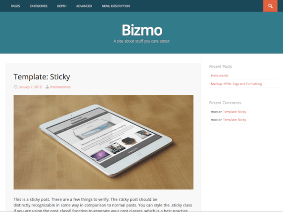 Bizmo wordpress theme