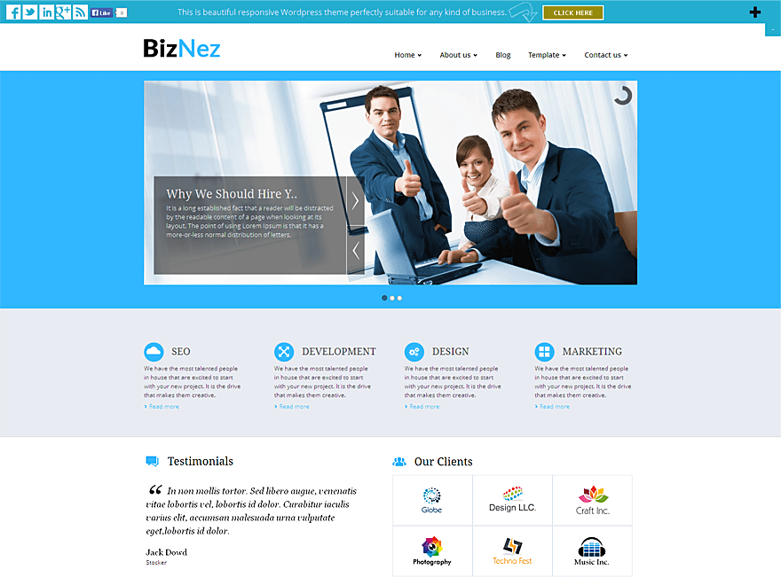 Biznez Lite free wordpress theme