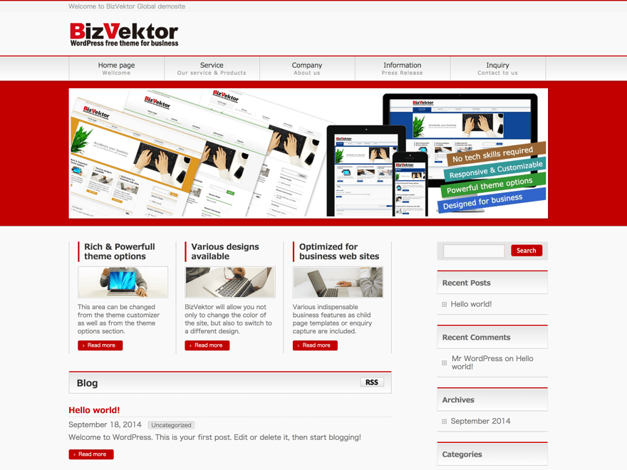 BizVektor Global Edition theme wordpress gratuit