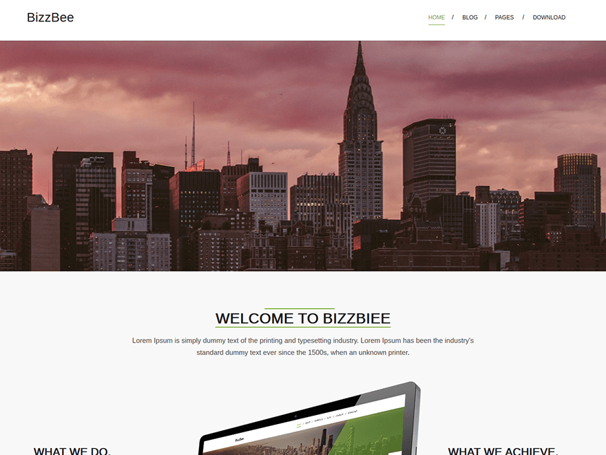 BizzBee free wordpress theme