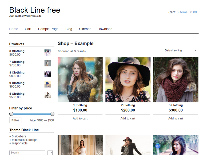 Black Line free wordpress theme