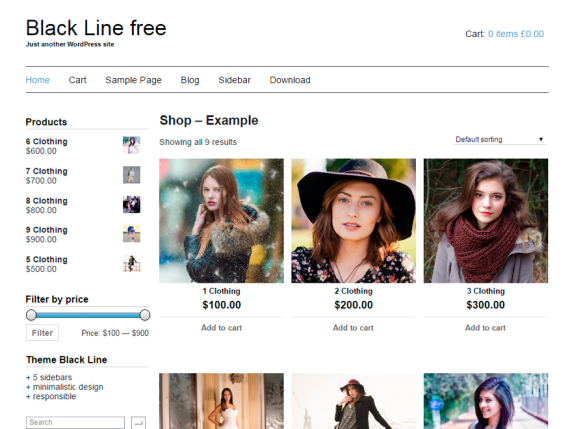 Black Line wordpress theme