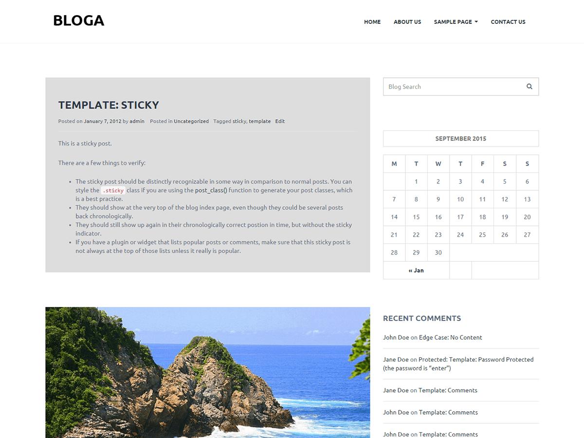 Bloga free wordpress theme