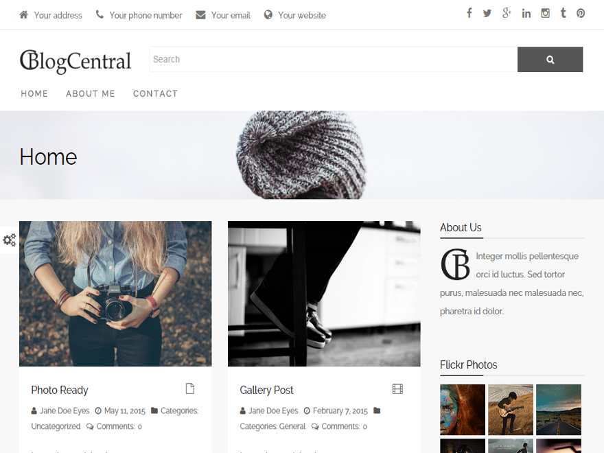 BlogCentral free wordpress theme