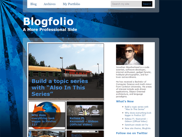 Blogfolio free wordpress theme