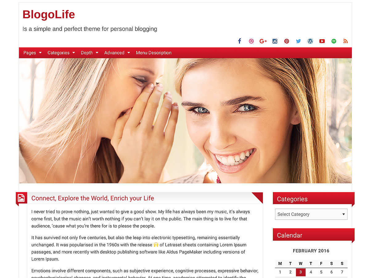 Blogolife wordpress theme