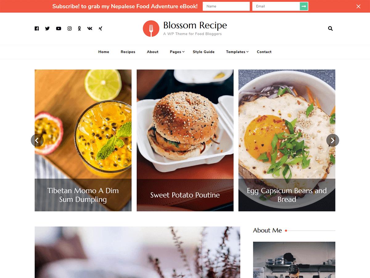 WordPress тема: Blossom Recipe
