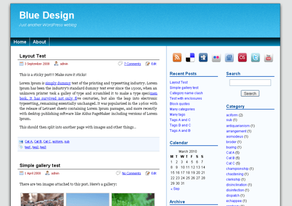 Blue Design wordpress theme