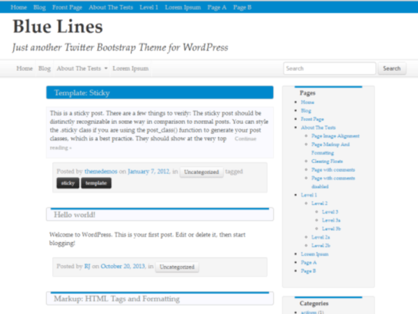 Blue Lines free wordpress theme