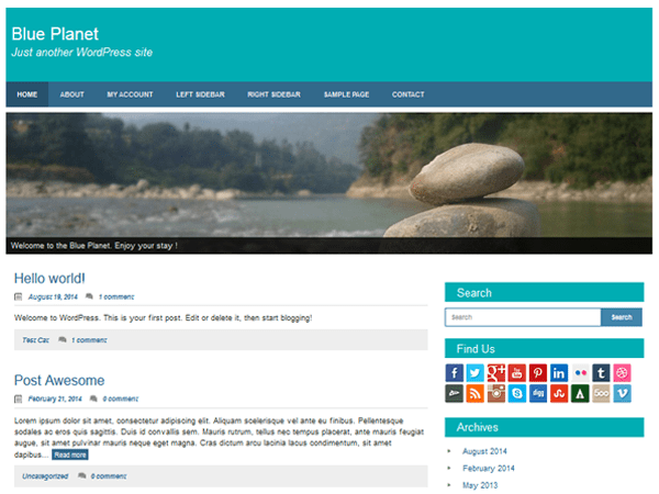 Blue Planet free wordpress theme