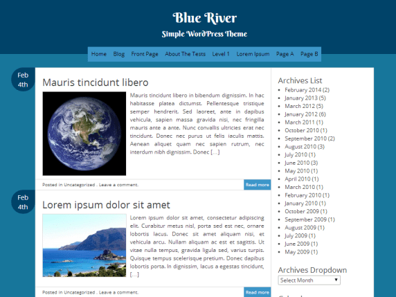 Blue River wordpress theme