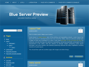Blue Server free wordpress theme