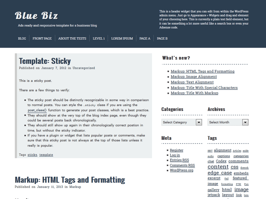 bluebiz free wordpress theme