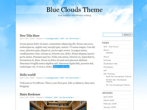 BlueClouds free wordpress theme