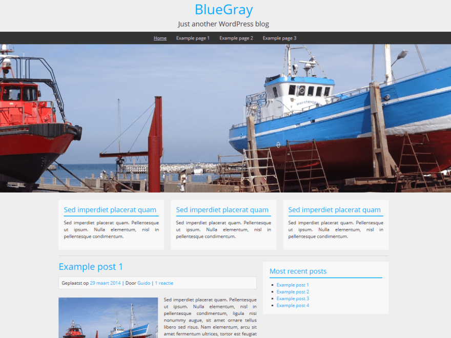 BlueGray free wordpress theme