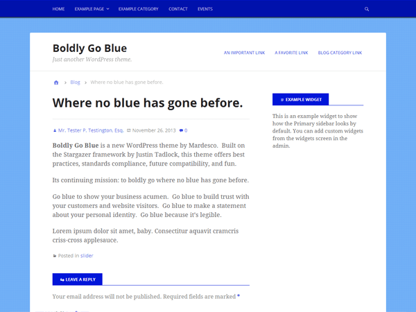 Boldly Go Blue theme wordpress gratuit
