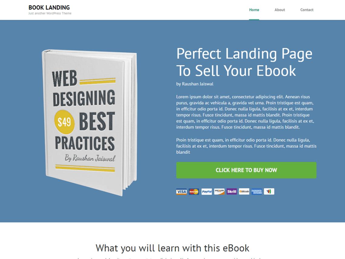 Book Landing Page — Free WordPress Themes