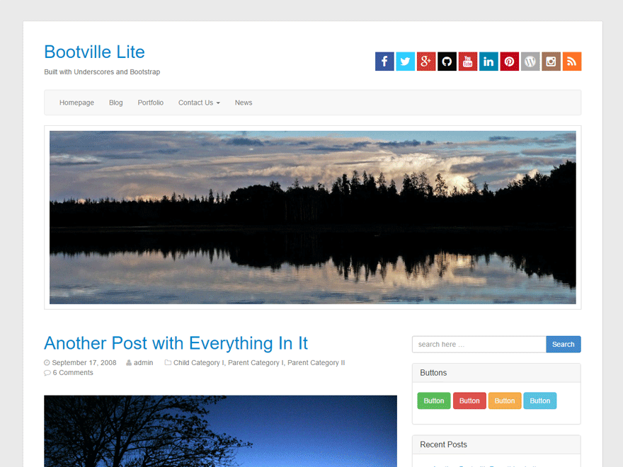 Bootville Lite free wordpress theme
