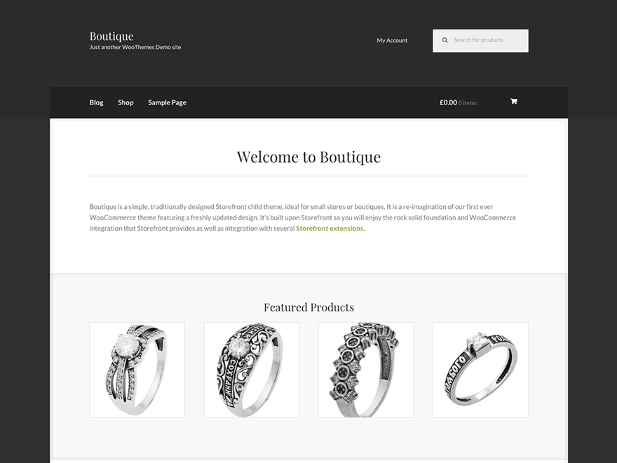 Boutique free wordpress theme