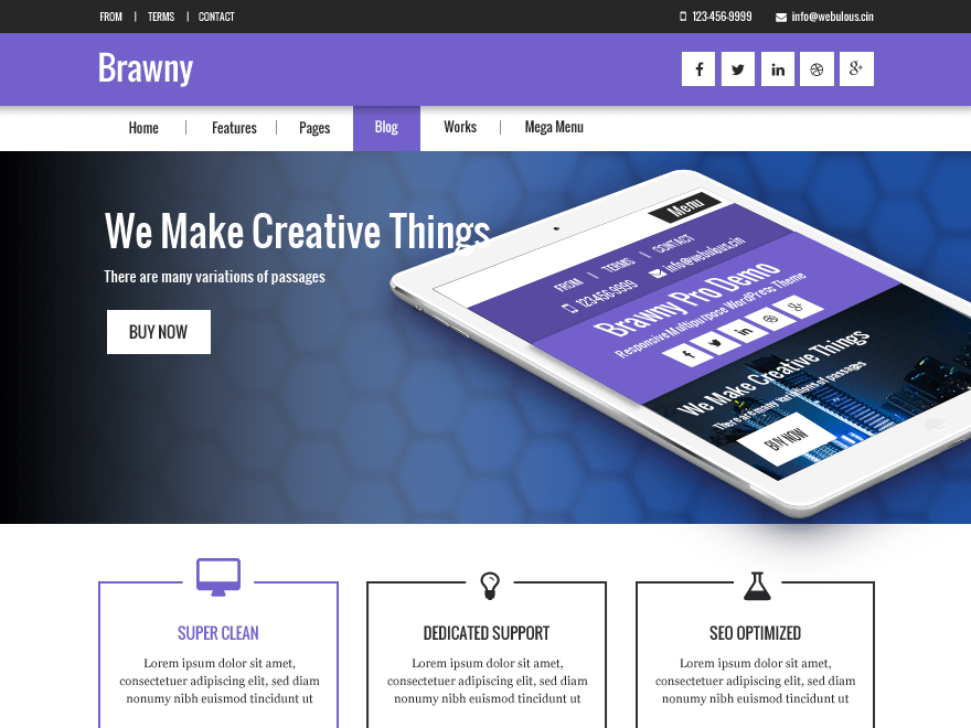 Brawny free wordpress theme