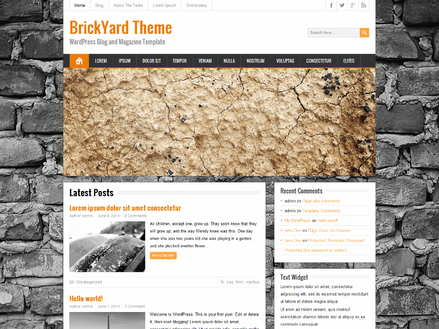 Brickyard wordpress theme