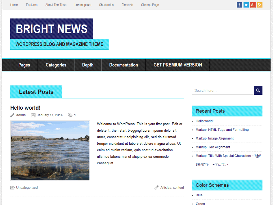 BrightNews free wordpress theme