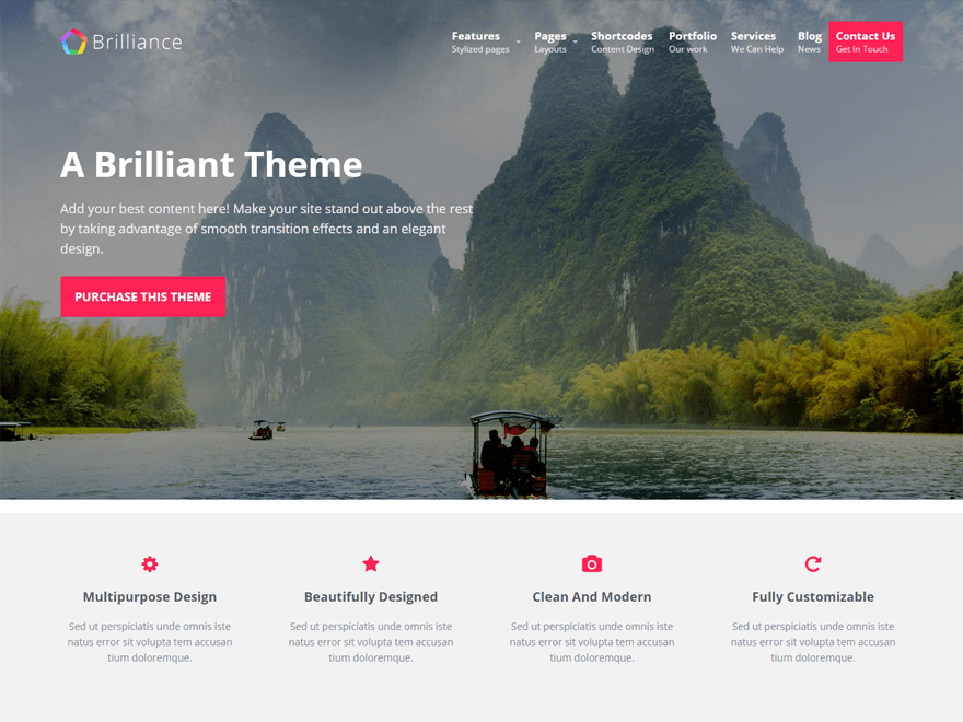 Brilliance free wordpress theme