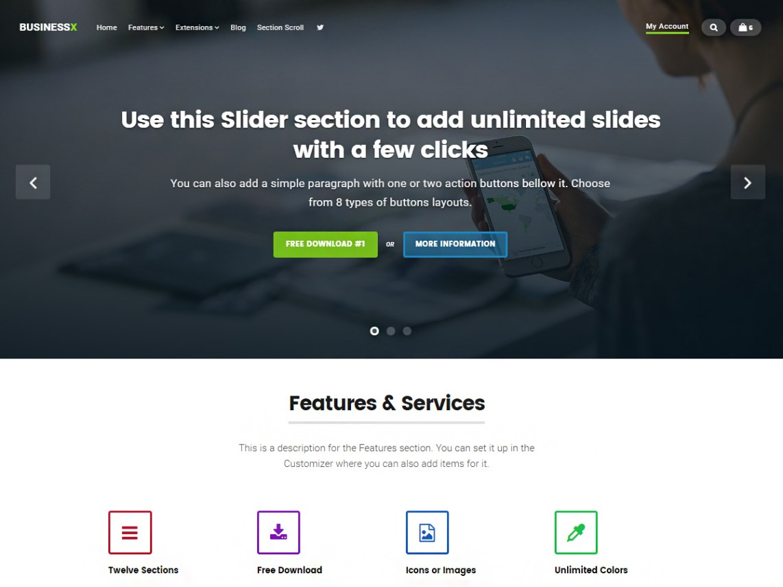 Businessx — Temas WordPress gratuitos