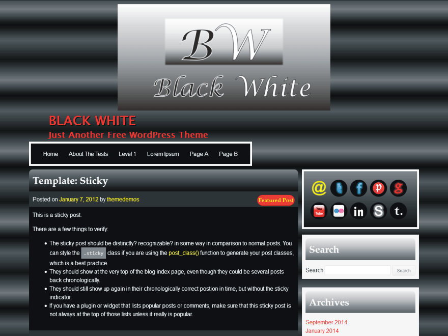BW free wordpress theme