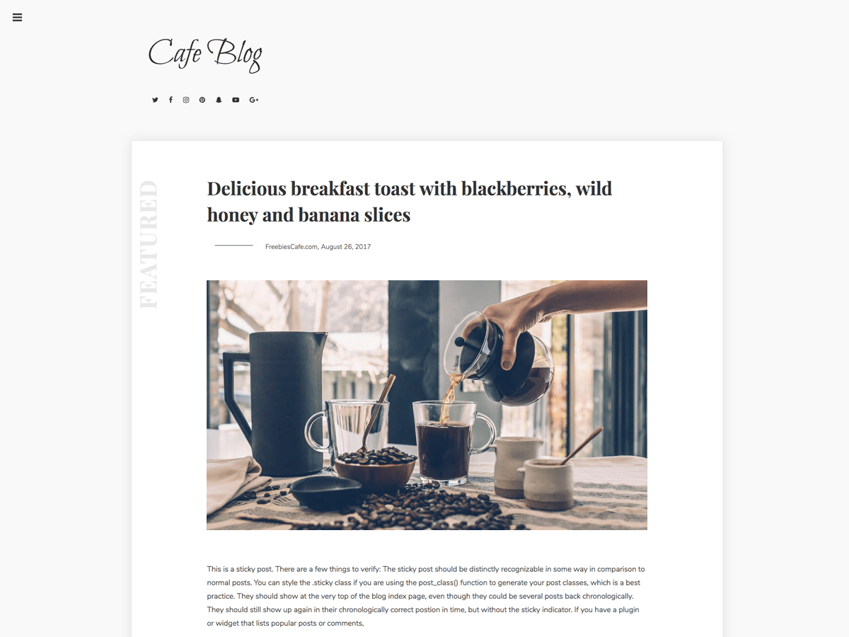 Cafe Blog child theme