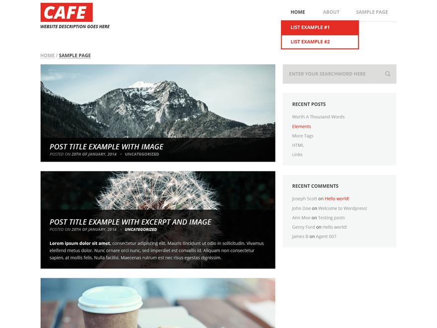 Cafe free wordpress theme