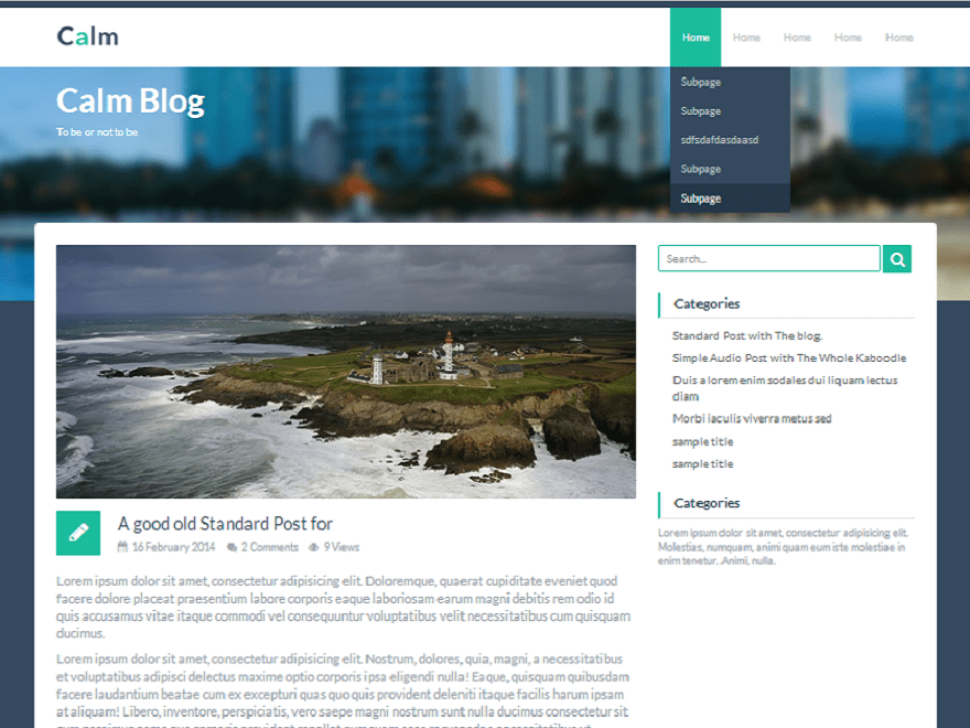 Calm free wordpress theme