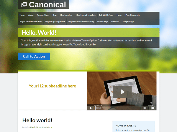 Canonical free wordpress theme