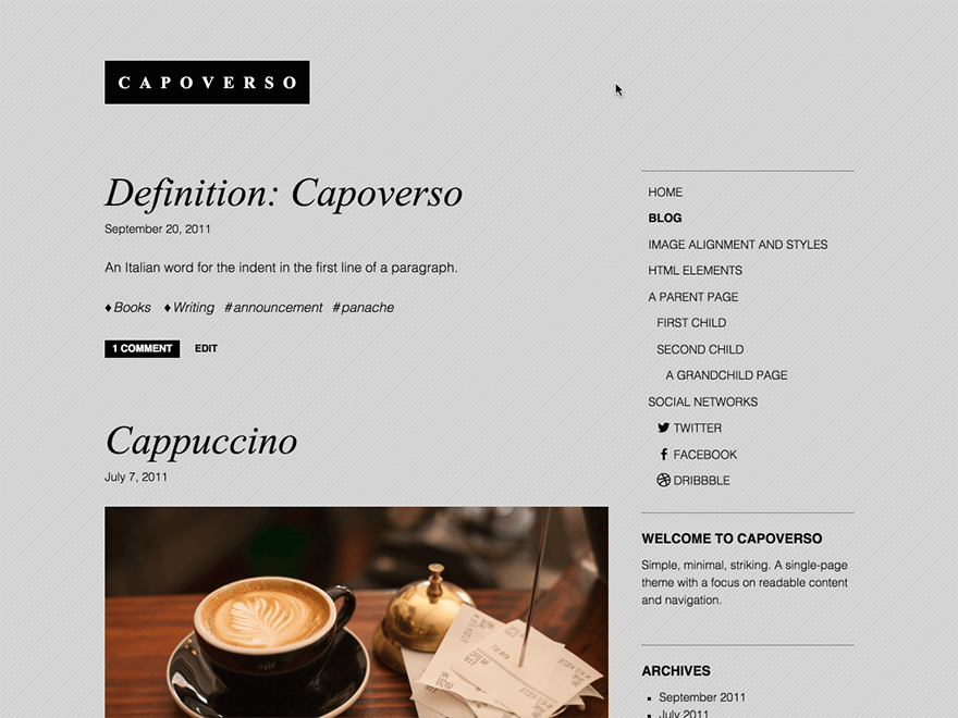 Capoverso free wordpress theme