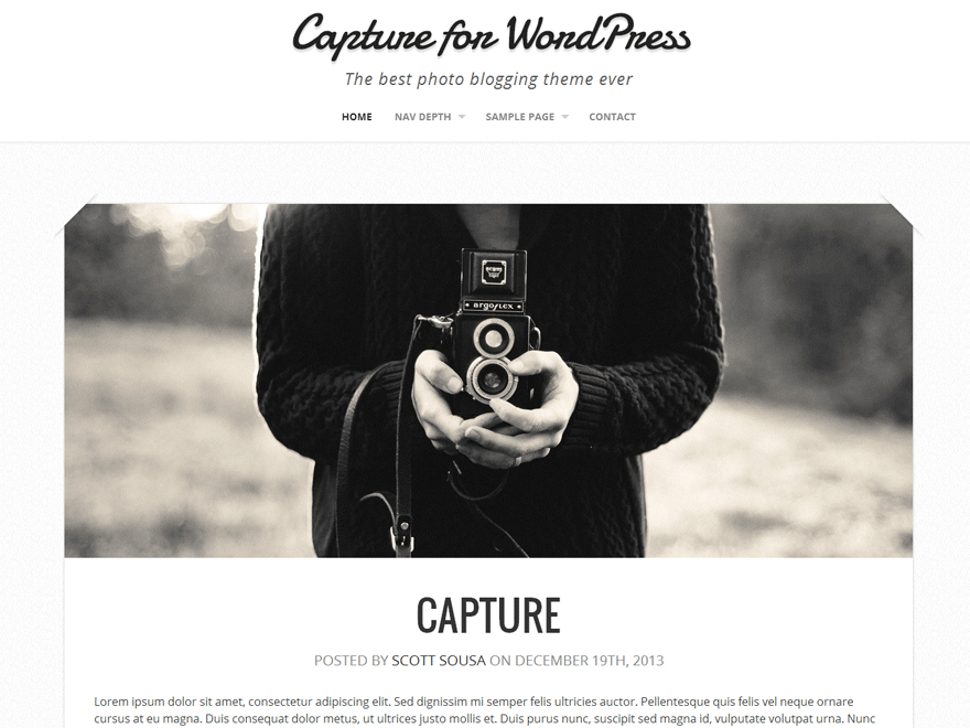 Capture free wordpress theme