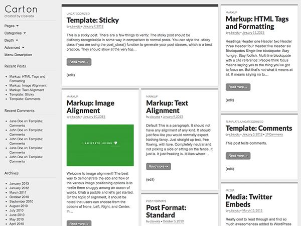 Carton theme wordpress gratuit