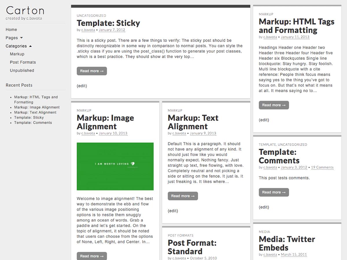 Carton wordpress theme